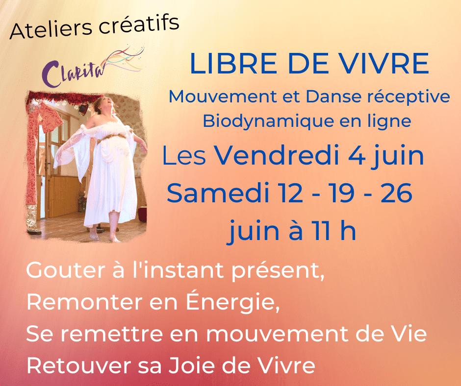 Mouvement réceptif et danse biodynamique programme de juin clairegendre.fr